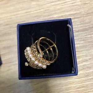 Swarovski Diamond and Pearl Ring